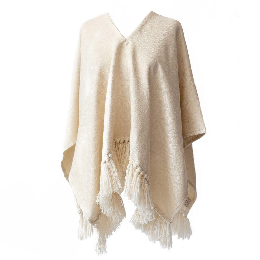 Alpaca poncho-Cropped Fringe alpaca Poncho-Winter White-Stick & Ball