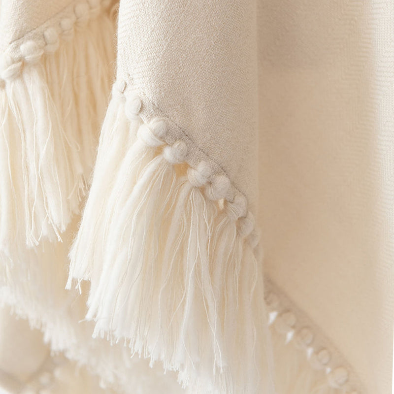 Herringbone hand-weave and hand-tied fringe from Cropped Fringe Alpaca Poncho - Winter White/Cream
