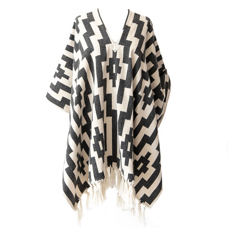 Handwoven Gaucho Pampa Alpaca Poncho with tassels - Light Grey & Ecru - Stick & Ball