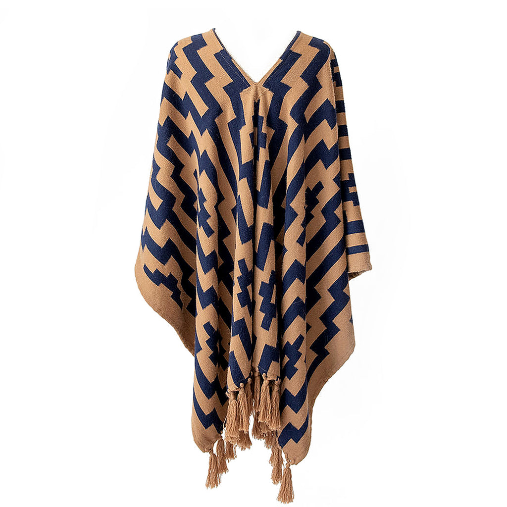 Handwoven Gaucho Pampa Alpaca Poncho with tassels - Tan & Navy - Stick & Ball