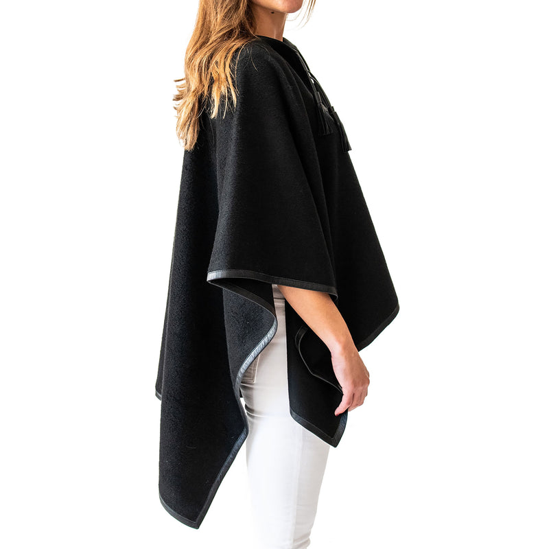 Leather trim alpaca poncho-Leather Trim Tassel Poncho-Black-Stick & Ball