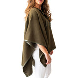 Woman wearing Italian Leather Trim Tassel Alpaca Poncho - Olive, side view - Stick & Ball