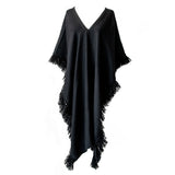 Handwoven Long Fringed Alpaca Poncho in Black - Stick & Ball