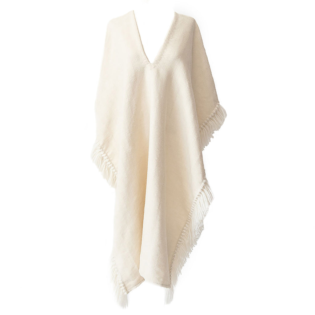 Alpaca Poncho-Long Fringed Poncho - Winter White-Stick & Ball