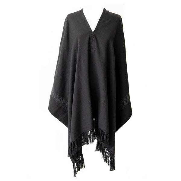 Black Handwoven Alpaca Pilar Poncho with Fringe - Stick & Ball