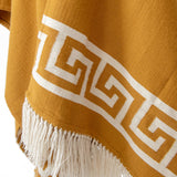 Pattern details of Handwoven Inca Gold Alpaca Ruana/Wrap with tassels - Stick & Ball