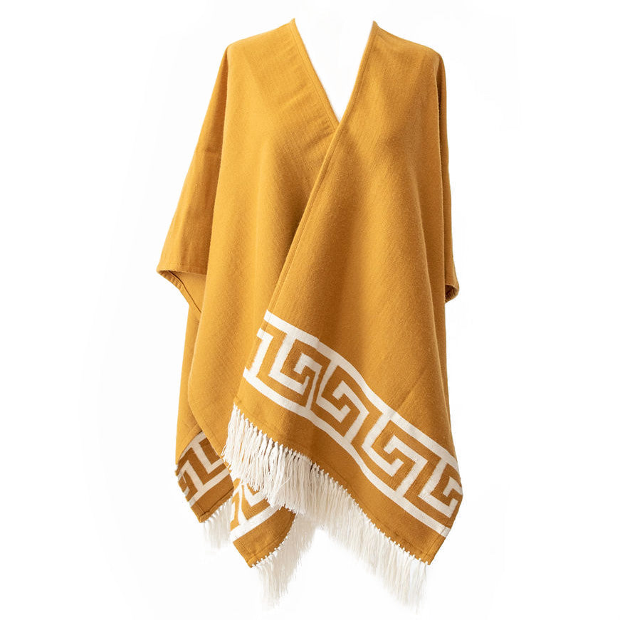 Handwoven Inca Gold Alpaca Ruana/Wrap with tassels - Stick & Ball
