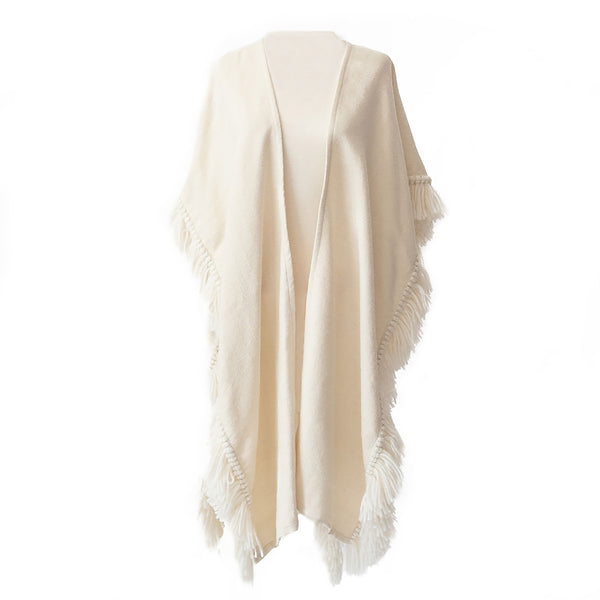 Winter White/Cream Handwoven Alpaca Fringed Ruana Wrap - Stick & Ball
