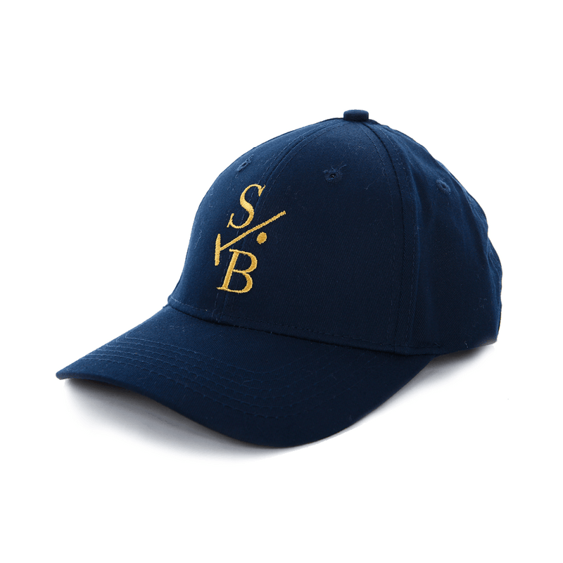 Kid's Embroidered Baseball Cap - Navy with Stick & Ball Logo in Gold Stitch