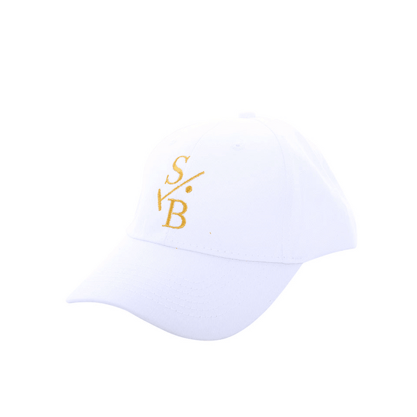 Kid's Embroidered Baseball Cap - White with Stick & Ball Logo in Gold Stitch