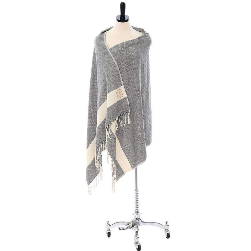Handwoven Organic Cotton Turkish Scarf, Wrap, Towel on mannequin