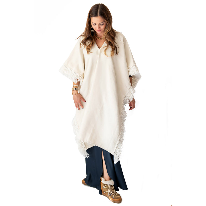 Long Fringed Alpaca Poncho - Winter White