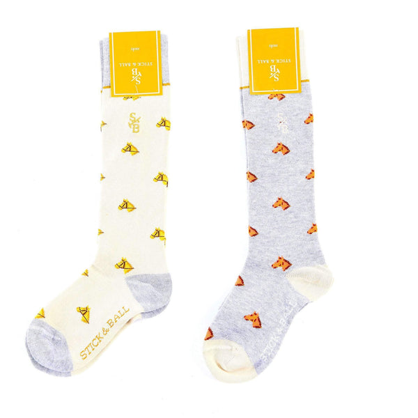 Kid's horse head boot socks - Cream - Cream & Gold - Stick & Ball