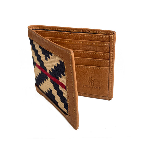 Men's Leather & Woven Wallet with Vegetable-tanned Leather Cotton Weave, Navy & Red Stripe, open