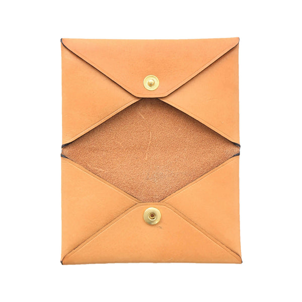 Handmade Vegetable-tanned Italian Leather Unisex Envelope Card Holder in Tan, opened - Stick & Ball