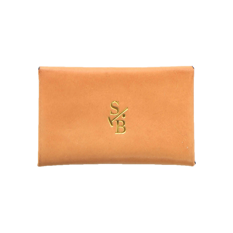 Handmade Vegetable-tanned Italian Leather Unisex Envelope Card Holder in Tan - Stick & Ball