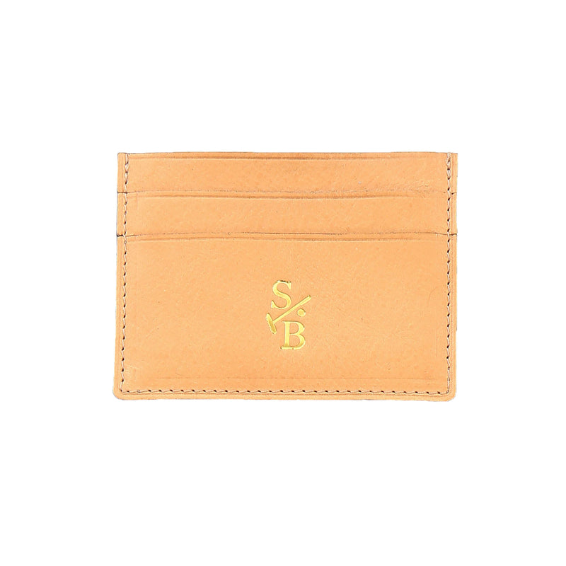 Handmade Vegetable-tanned Italian Leather Double Sided Flat Wallet - Tan - Stick & Ball