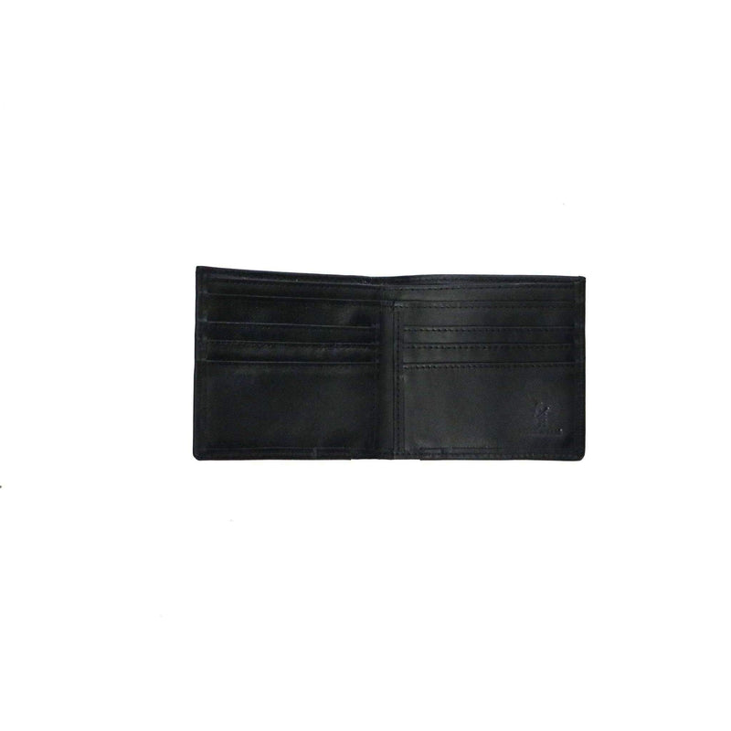 Men's Leather & Woven Wallet - Black
