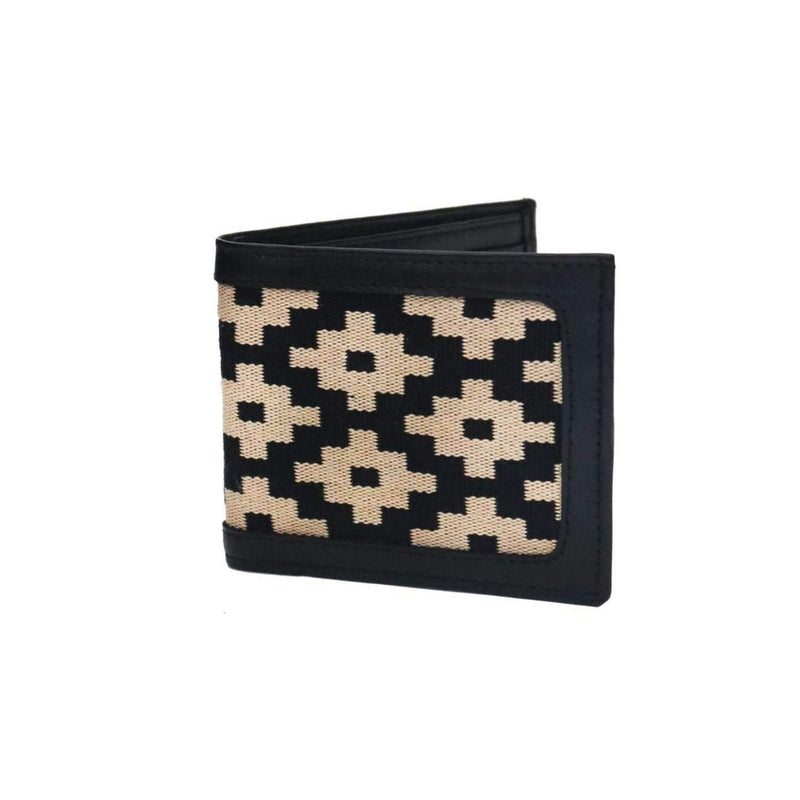 Men's Leather & Woven Wallet with Vegetable-tanned Leather with cotton weave - Black - Stick & Ball