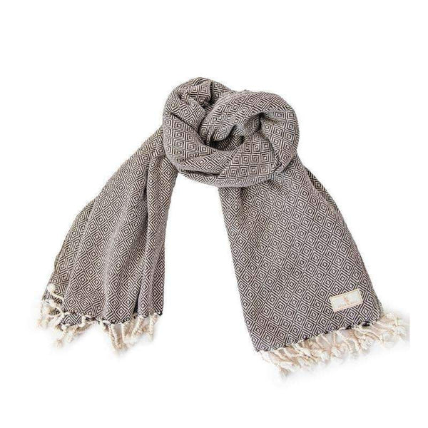 Brown Cotton Diamond Scarf - Turkish towel