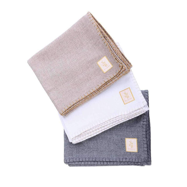 Stack of hand-stitched Alpaca Throw Blankets in Grey, Taupe & White - Stick & Ball