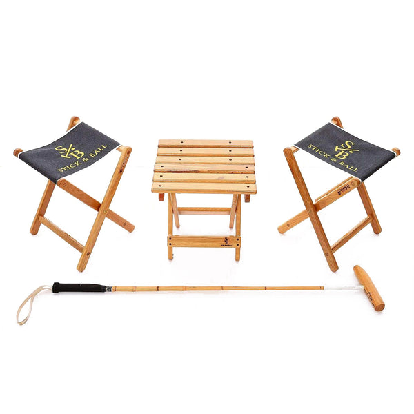 Two Canvas Embroidered Folding Chairs in Charcoal and wooden table and polo mallet - Stick & Ball