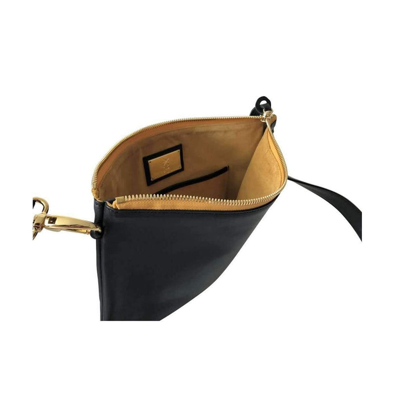 Gold zipper & Suede Interior of Indio Crossbody Bag/Clutch in Black - Stick & Ball