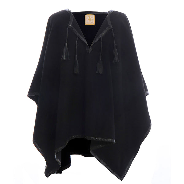 Italian Leather Trim Tassel Alpaca Poncho - Black - Stick & Ball