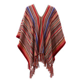 Handwoven Blanket Striped Alpaca Pampa Poncho multicolored with geometric patterns - Stick & Ball