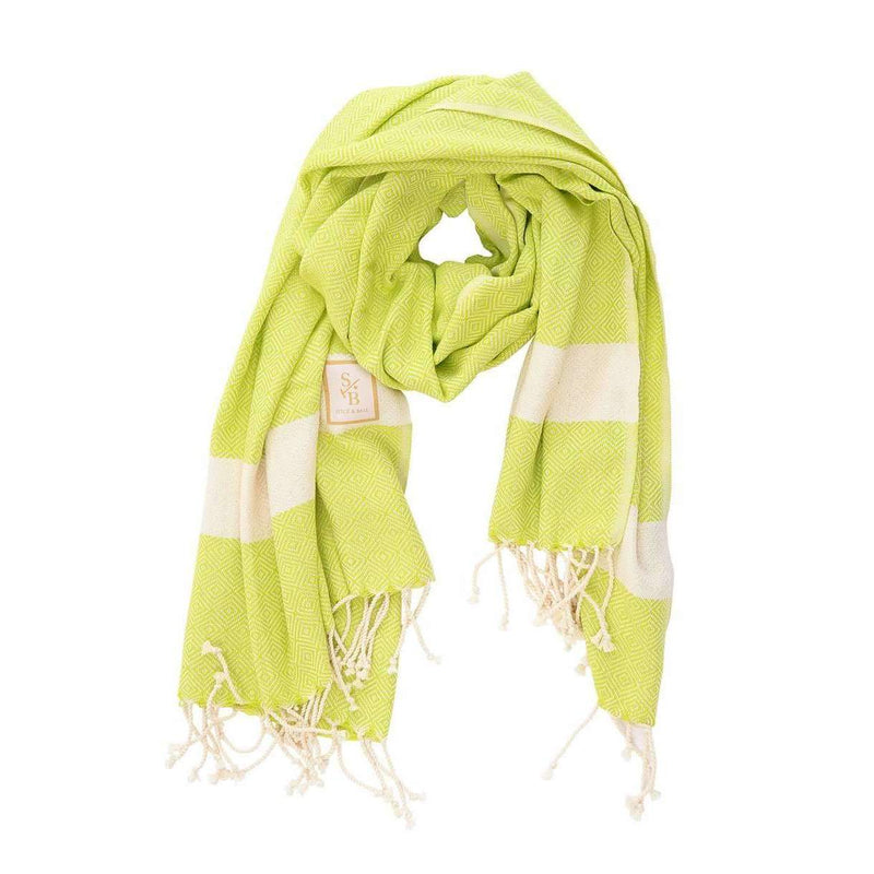Handwoven Green Organic Cotton Scarf - Turkish Scarf, Wrap, Towel  - Stick & Ball