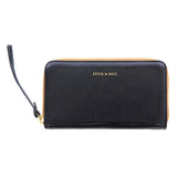 Handmade Vegetable-tanned Italian Leather Zip/Clutch Wallet in Black - Stick & Ball