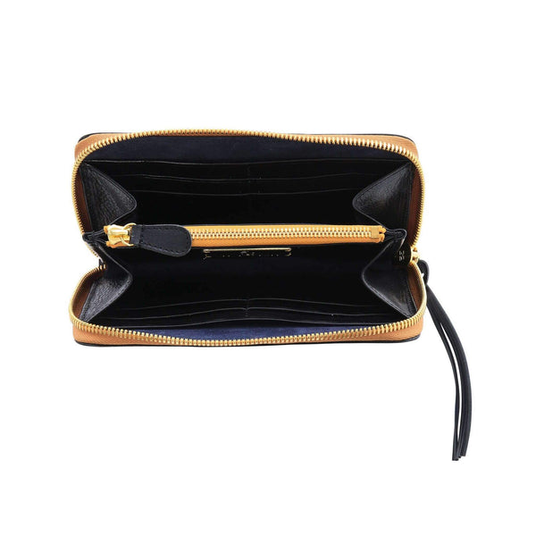 Vegetable-tanned Italian Leather Zip/Clutch Wallet in Black interior, gold zipper - Stick & Ball