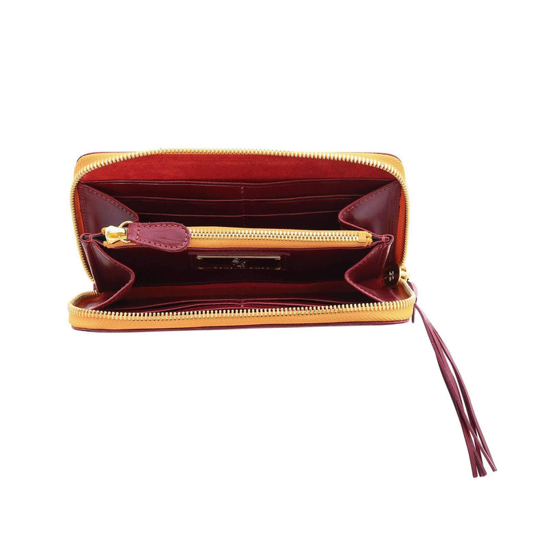 Vegetable-tanned Italian Leather Zip/Clutch Wallet in Burgundy, interior, gold zipper - Stick & Ball
