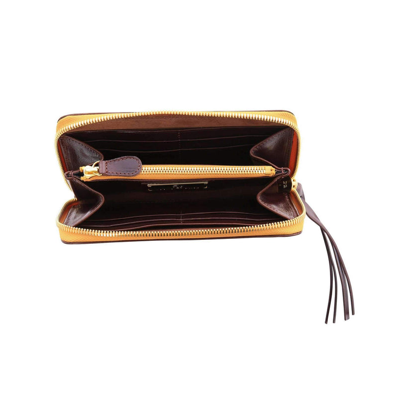 Vegetable-tanned Italian Leather Zip/Clutch Wallet in Espresso, interior, gold zipper - Stick & Ball