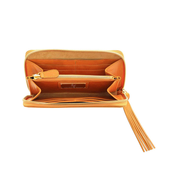 Vegetable-tanned Italian Leather Zip/Clutch Wallet in Mustard, interior, gold zipper - Stick & Ball