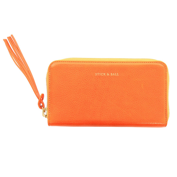 Handmade Vegetable-tanned Italian Leather Zip/Clutch Wallet in Orange - Stick & Ball