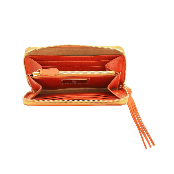 Vegetable-tanned Italian Leather Zip/Clutch Wallet in Orange, interior, gold zipper - Stick & Ball