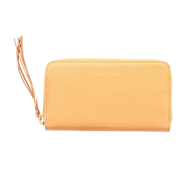 Handmade Vegetable-tanned Italian Leather Zip/Clutch Wallet in Tan - Stick & Ball