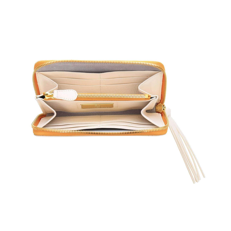 Vegetable-tanned Italian Leather Zip/Clutch Wallet in White, interior, gold zipper - Stick & Ball