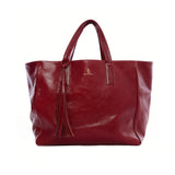 Handmade vegetable-tanned Italian leather Wellington Weekender Tote - Burgundy - Stick & Ball