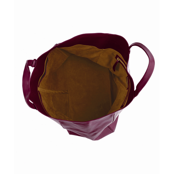 Suede interior of vegetable-tanned Italian leather Wellington Weekender Tote, Burgundy, Stick & Ball