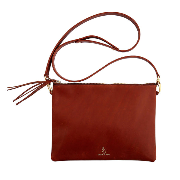 Handmade Vegetable-tanned deerskin leather Indio Crossbody Bag/Clutch in Brown - Stick & Ball