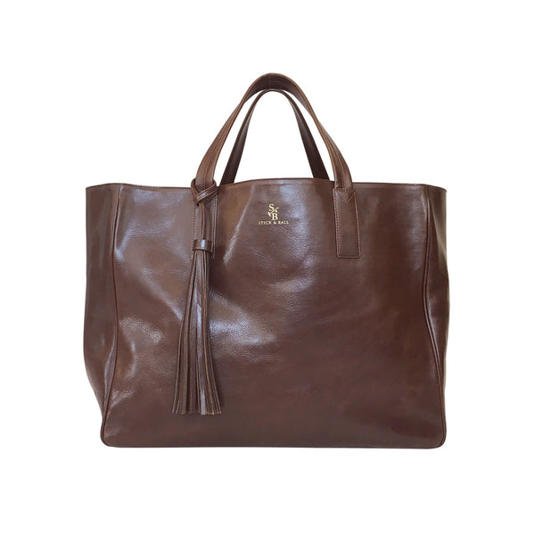 Handmade vegetable-tanned Italian leather Wellington Weekender Tote - Brown - Stick & Ball