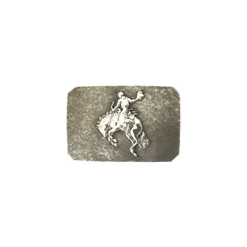 Western Style Sterling Silver Belt Buckle - Bronco - Stick & Ball