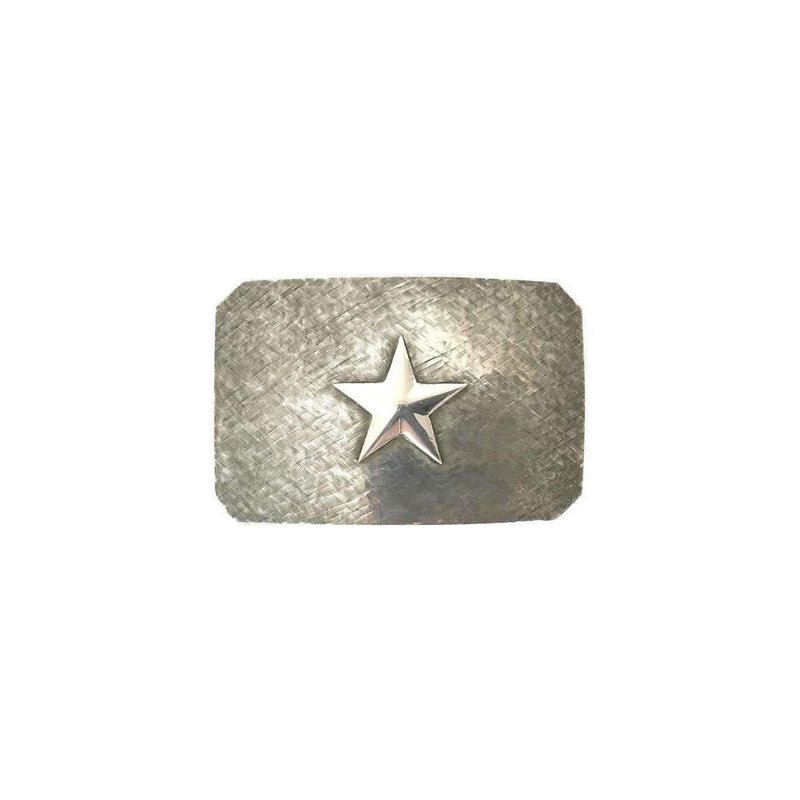 Western style Sterling Sliver Belt Buckle - Brushed Silver Star - Stick & Ball