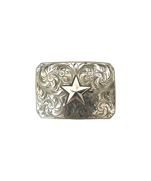 Belt Buckle - Tooled Silver Star