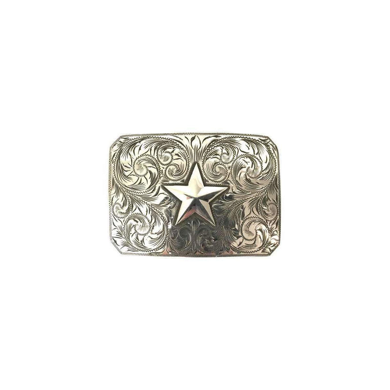 Western style Sterling Silver belt buckle - Tooled Silver Star - Stick & Ball