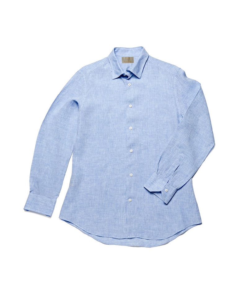 Men's Linen Shirt - Pacific Blue