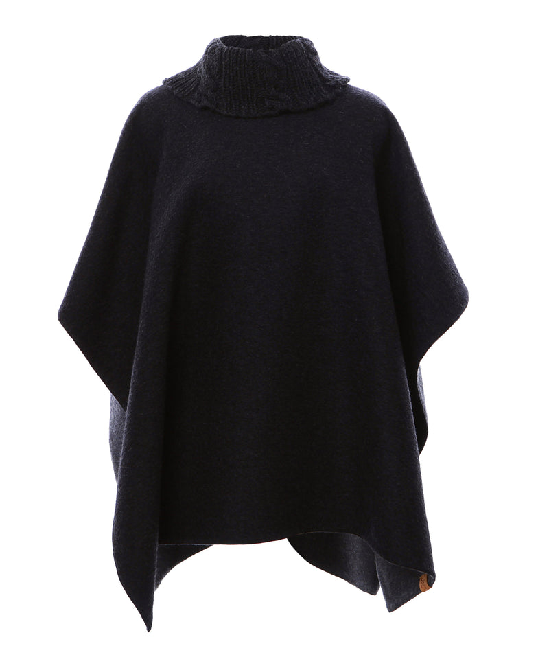 Reversible Knit Collar Alpaca Poncho in Charcoal & Heather Grey - Stick & Ball