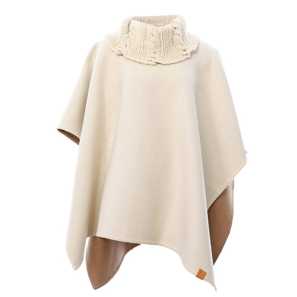 Reversible Knit Collar Alpaca Poncho in Cream & Camel - Stick & Ball